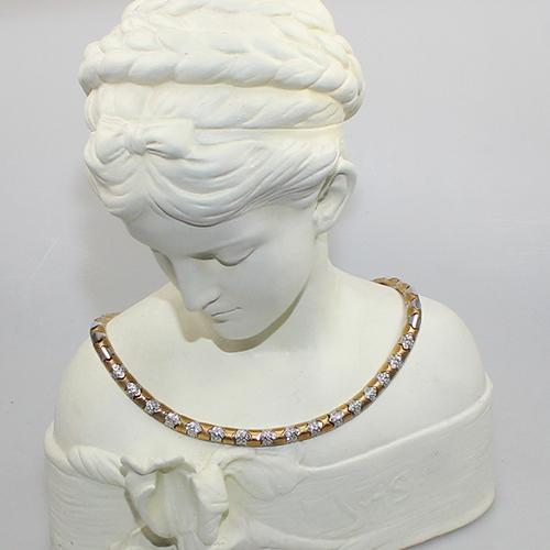 Diamant Collier Rosègold/Weißgold 750 besetzt mit 144 natürlichen Diamanten ca. 3,60 ct