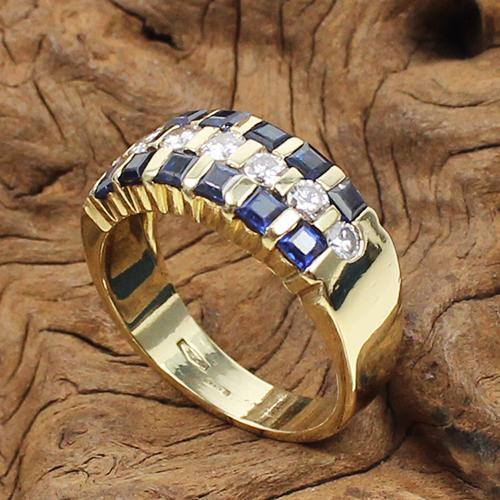 Saphir-Brillant Ring Gelbgold 750