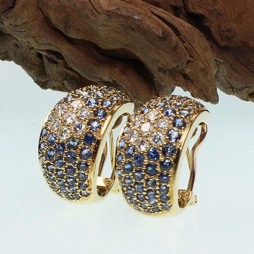Saphir-Diamant-Ohrstecker (Clips) Gelbgold 750