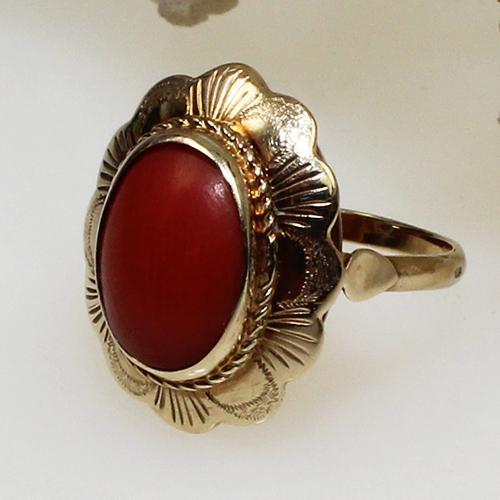 Korallen Ring 585 Gelbgold