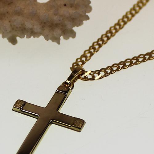 Kette mit Kreuzanhänger 333 Gelbgold