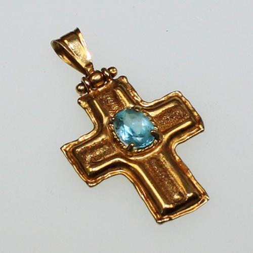 Kreuzanhänger mit Topas 750 Gelbgold