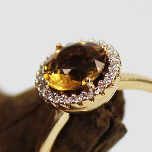 Citrin Brillant Ring 585 Gelbgold
