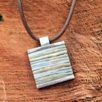"DUR Leder-Collier ""Blue Bamboo"" aus 925er Sterlingsilber mit klassischem Glattlederband"