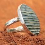 """DUR Ring """"Blue Bamboo"""" aus 925er Sterlingsilber"""