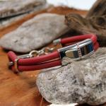 Street Kautschuk/Stahlarmband rot mit funkelnden Zirkonia - ST003RS