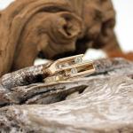 Gelbgold Ring 585er mit beweglichen Brillanten