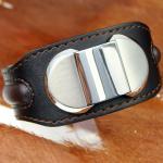 Street Herren Armband Leder Breitband mit Edelstahl BC024BK