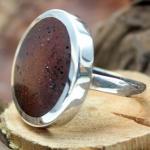DUR Silber Ring mit braunem Lavastein R3769 GR 54