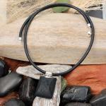CARA Ledercollier mit Lava-/Silberanhänger 206/0240