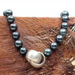 Tahiti Perlenkette mit Sterling - Silber Verschluß