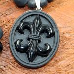 JJJ LA Shamballa Halskette Fleur de Lys Onyx