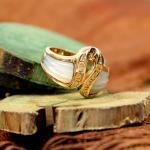 Diamant Ring mit Perlmutt 750er Gelbgold