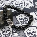 JJJ LA Armband Walze small Skulls Onyx facettiert GR L
