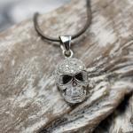 """JJJ LA """"Skull"""" Collier Damenhalskette 925er Silber rhodiniert"""