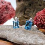 Diamant - Topas- Ohrstecker mit Clip