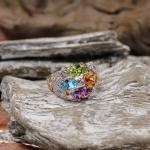 Brillant Ring mit Farbedelsteinen 750er GG