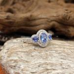 Tansanit - Diamant - Ring 585er Weißgold