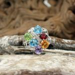 Brillant Ring mit Farbedelstein 750er WG