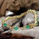 Brillant - Smaragd - Armband 750er Gelbgold