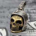 """JJJ LA """"Biker Skull"""" Anhänger Silber/Bronze Gold polished"""