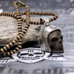 """JJJ LA """"Biker Skull"""" Kette & Anhänger Bronze black polished"""