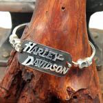 Handarbeit Armreif 925er Silber mit Harley Davidson