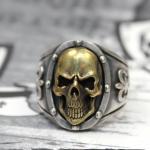 """JJJ LA Herren Ring """"gold Skull"""" 925er Silber / Bronze GR 64"""