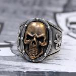 """JJJ LA Herren Ring """"bronce Skull"""" 925er Silber / Bronze GR 70"""