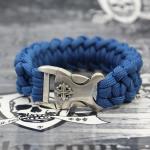 "JJJ LA Paracord Armband ""blue Cross"" mit 925er Silberschließe Länge: 190 mm"