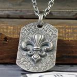 "JJJ LA Halskette Hundemarke ""Fleur de Lys"" aus 925er Silber"