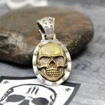 """JJJ LA Anhänger """"gold Skull"""" 925er Silber Bronze gold polished"""