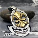 """JJJ LA Anhänger """"gold big Fleur de Lys"""" 925er mit Bronze gold polished"""