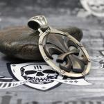 """JJJ LA Anhänger """"black big Fleur de Lys"""" 925er Silber mit Bronze black polished"""