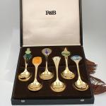 Sechs R&B 925er Silber vergoldete Jahreslöffel