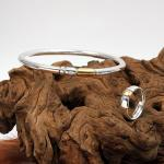Schmuckset Armreif und Ring Silber/Gold/Diamant