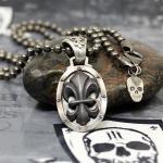 "JJJ LA ""black Fleur de Lys"" Collier 925er Silber mit Bronze / 4 mm Kugelkette - 68 cm Länge"