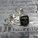"JJJ LA ""Biker Skull"" Schlüsselanhänger 925er Silber/Bronze black polished"