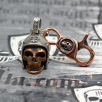 """JJJ LA """"Biker Skull"""" Schlüsselanhänger 925er Silber/Bronze mit Bronze Karabiner"""
