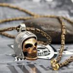 """JJJ LA """"Biker Skull"""" Kette & Anhänger Bronze"""