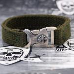 """JJJ LA Nylon Armband militarygreen """"Cross Buckle"""" 925er Silber"""