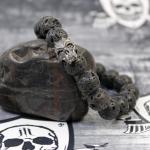 """JJJ LA Lavastein Armband """"Blackskull"""" Armumfang 170 mm"""
