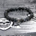 """JJJ LA Armband """"baked achat skull"""" Achatkugeln und Totenschädel aus 925er Silber 200 mm Armumfang"""