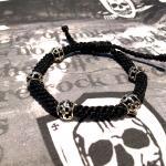 "JJJ LA Nylon Shamballa Armband ""Fleur de Lys"" 925er Silber"