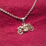 Herren Halskette mit Motorrad Anhänger aus 585er Gelbgold