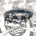 """JJJ LA Leder Zugband """"Fleur de Lys"""" blau 180 mm"""