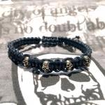 """JJJ LA Leder Zugband """"Skull"""" blau 180 mm"""