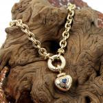 Collier im Ankermuster mit Herzanhänger Tansanit