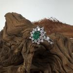 Smaragd Brillant Ring Weißgold