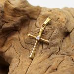 Kreuzanhänger 585 mit natürlichem Diamanten 0,03 ct
